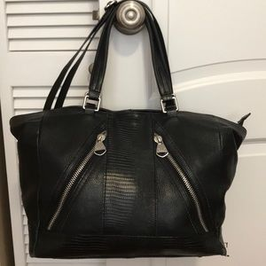 DOLCE VITA Black Leather Embossed Handbag/Satchel
